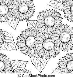 beau, strokes., lignes, seamless, hand-drawn, arrière-plan noir, monochrome, blanc, contour, sunflowers.
