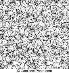 beau, strokes., lignes, seamless, roses, hand-drawn, arrière-plan noir, lis blanc, contour