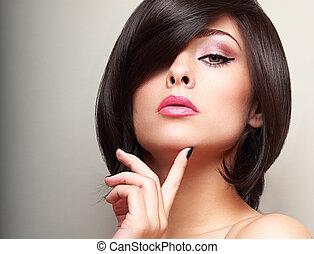 beau, style cheveux, court, face., maquillage, regarder, ...