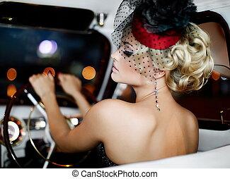 beau, style, mode, vieux, séance, voiture, maquillage, clair, retro, blonds, sexy, portrait, élégant, girl, modèle