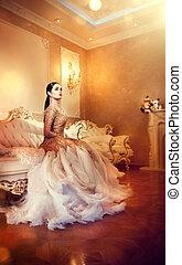 beau, style, soir, beauté, room., robe, luxueux, élégant, longueur, femme, entiers, magnifique, intérieur, portrait, dame