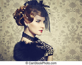 beau, style, vendange, retro, portrait, woman.