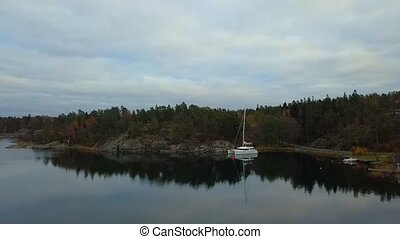 beau, suédois, classique, above., paysage, vue