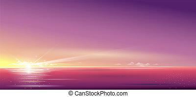 beau, sur, coucher soleil, fond, mer