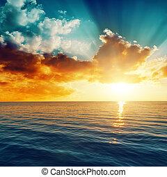 beau, sur, coucher soleil, mer