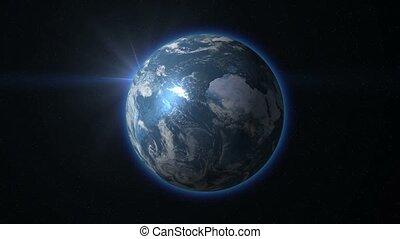 beau, sur, earth., levers de soleil