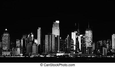 beau, sur, hudson, york, cityscape, nouveau