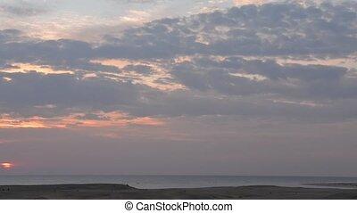 beau, sur, levers de soleil, mer