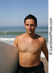 beau, surfer, homme