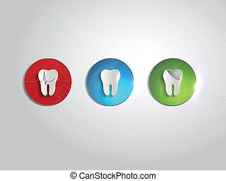 beau, symboles, coloré, dents, clair, papier, conception, couleurs, soin