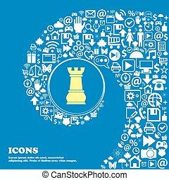 beau, symbols., centre, icônes, freux, tordu, vecteur, spirale, grand, ensemble, échecs, icon., une, gentil