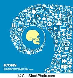 beau, symbols., ensemble, centre, crâne, icônes, tordu, spirale, grand, vecteur, icon., une, gentil