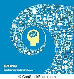 beau, symbols., ensemble, centre, icônes, tordu, spirale, grand, cerveau, vecteur, icon., une, gentil