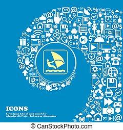 beau, symbols., ensemble, centre, icônes, tordu, spirale, grand, vecteur, icon., une, planche voile, gentil