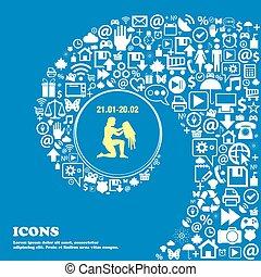 beau, symbols., ensemble, centre, icônes, verseau, tordu, spirale, grand, vecteur, icon., une, gentil