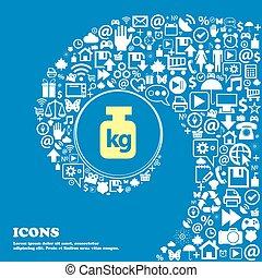 beau, symbols., ensemble, centre, poids, icônes, tordu, spirale, grand, vecteur, icon., une, gentil