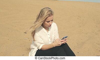 beau, téléphone, sable, girl, séance