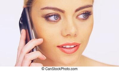 beau, téléphoner femme, conversation