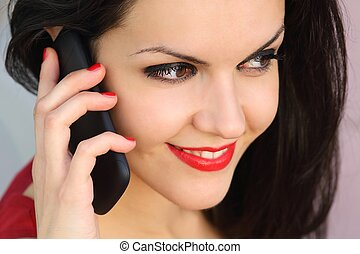 beau, téléphoner femme, haut fin