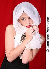 beau, tête, elle, blanc, modèle, écharpe