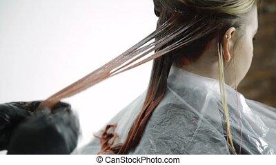 beau, tête, femme, beauté, pêche, salon, colorant cheveux