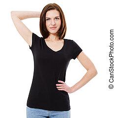 beau, t-shirt, girl, noir