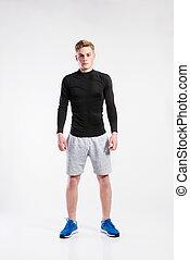 beau, t-shirt, short, noir, fitness, studio, homme, prise ...