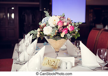 beau, table, fleurs