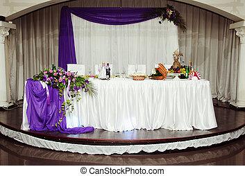beau, table, mariage