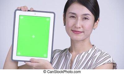 beau, tablette, femme affaires, projection, figure, asiatique, numérique, heureux