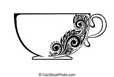 beau, tasse, ornement, noir, floral, décoré, blanc