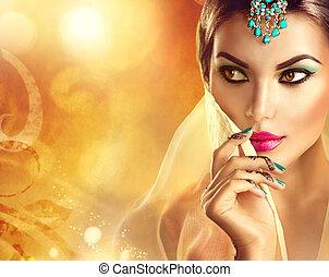 beau, tatouage, femme, hindou, indien, portrait., girl,...