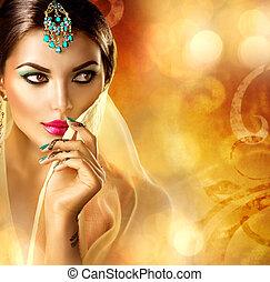 beau, tatouage, fille femme, arabe, portrait., arabe, menhdi
