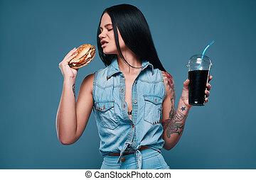 beau, tatouage, hamburger, charmer, soude, girl