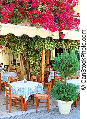beau, taverna, grec, bougainvillea, fleurs, fleur