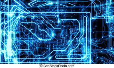 beau, technologies., 1080., concept, cyberspace., intérieur, voler, 3d, jeûne, lines., électrons, loopable, numérique, en mouvement, par, résumé, hd, animation.