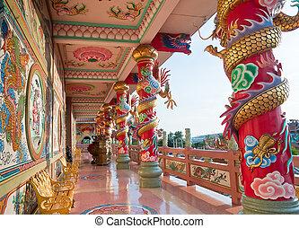 beau, temple bouddhiste, dragon chinois