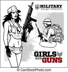 beau, tenue, fusil, femme