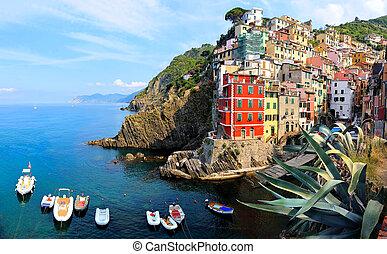 beau, terre, italie, cinque, riomaggiore, côtier, village, bateaux