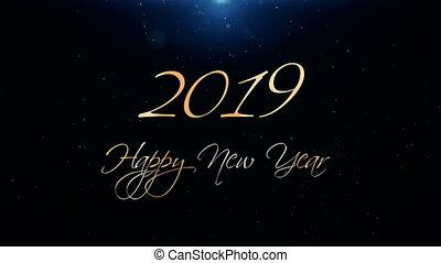 beau, texte, salutation, animation, ouvreur, année, nouveau, 2019., heureux