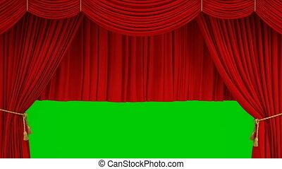 beau, théâtral, vert, théâtre, classique, résumé, ouverture, screen., 4k, ultra, réaliste, mask., levée, hd, alpha, rideau, fermer, étape, animation, rouges, 3d