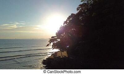 beau, thaïlande, plage, coucher soleil, krabi