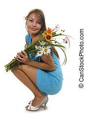 beau, tient, isolé, fleurs, girl, tas