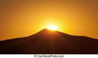 beau, time-lapse., levers de soleil