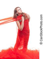beau, tissu, girl, rouges