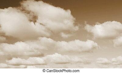 beau, tonalité, sepia ciel, nuages, boucle