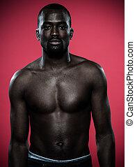 beau, topless, jeune, homme africain