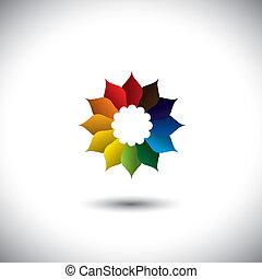beau, tout, fleur, coloré, pétales, couleurs, vecteur, icône