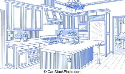 beau, transition, coutume, completion., dessin, cuisine
