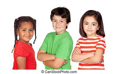 beau, trois enfants